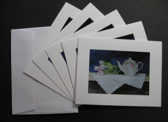 Blank Note Cards, Greeting Cards, Featuring Watercolor Painting,Teapot and Tulips, by Suzanne Churchill