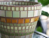 Burnt Orange and Olive Green - Mosaic planter in autumn colors