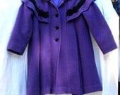 Vintage Girls Purple London Fog Dress Coat Size 6 Lined Velvet Trim