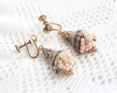 Shell Pink Pearl Vintage Earrings Dangle Seashell Striped Unusual Antiqued Brass