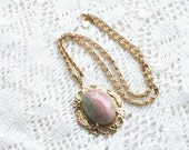 Pink Marbled Art Glass Pendant Necklace Vintage 1950s Tri Color Gold Filigree on Scrolled Chain