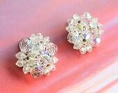 Vintage Crystal Cluster Earrings Aurora Borealis AB Finish Sparkle Germany Wedding Formal