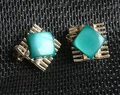 Vintage Coro Thermoset Earrings Ocean Blue Green Silver Bars