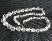 Hand Cut Crystal Necklace Vintage Art Deco Clear Chunky Wedding Formal