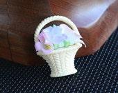 Vintage Silk Flower Basket Figural Brooch Pin 1982