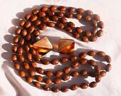 Vintage Rootbeer Bead Necklace Pierced Earrings Beaded Set