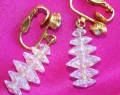 Vintage Stacked AB Crystal Earrings Glass Flowers Aurora Borealis Dangle Clip On