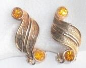Vintage Topaz Yellow Rhinestone Ribbon Earrings Curving Goldtone