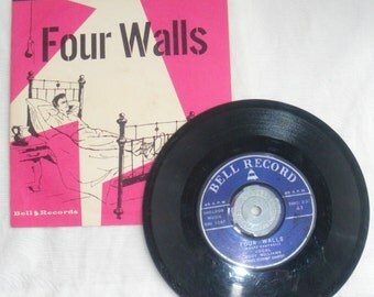 45 RPM RECORD Pledge of Love & Four Walls Leyden, Williams Bell Records Original Cover ART Sleeve