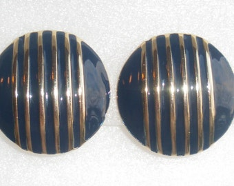 1980s Blue Gold Stripe EARRINGS Vintage Round Enamel Domed 1980s Retro Clip On