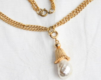 Baroque Pearl Drop Necklace Vintage Sarah Coventry Jewelry Fashion Parade Pendant Necklace