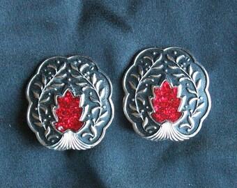 Red Flame Earrings Vintage Antiqued Silver Black Enamel Germany