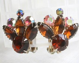 Rootbeer Brown Rhinestone Earrings Vintage Pink Aurora Borealis Clip On