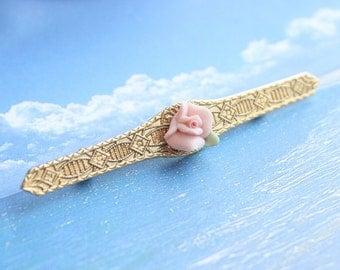 Delicate Bar Brooch Vintage Pin Pink Ceramic Flower Center Raised Gold Design