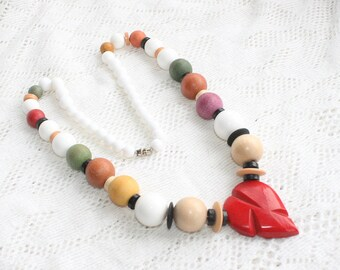 Wood Heart Necklace Vintage Colorful Mustard Sage Tan White Red Center Heart