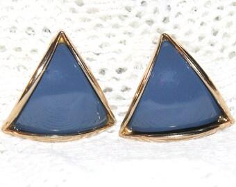 Vintage Blue Triangle Pierced Earrings Triangle Chunky Lightweight 80s New Wave