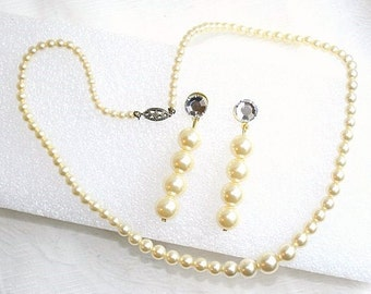 Pearl Necklace Earrings Set Vintage Pierced Signed Sterling Clasp Rhinestone Dangle