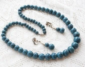 Blue Sponge Coral Necklace Earrings Set Vintage Speckled Beads