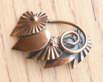 Copper Hearts Brooch Vintage Pin 1960s Antiqued Black Copper