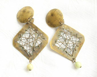 Brass Spiderweb Earrings Vintage Geometric Hammered Antiqued 1980's Dangles Clip On