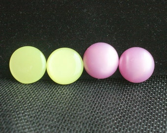 Pink Green Button Earrings 2 Pair Vintage Lot Bright Colorful Lucite Pink Green