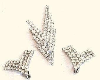 Art Deco Chevron Brooch Earrings Vintage Rhinestones Set Rhinestones V Shaped Pin Maximum Sparkle