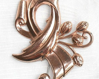 Silver Brothers Vermeil Brooch Pin Art Nouveau Coppery Ribbon Scroll