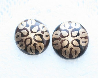 Gold Black Button Earrings Pierced Vintage Wood Black Gold Filigree Design Retro 1970s Abstract