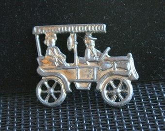 Model T Car Brooch Vintage Figural Car Pin Cute Whimsical Pot Metal