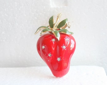 Vintage Strawberry Pin Large Brooch Signed Coro Fruit Figural Pin Enamel Rhinestone Accents