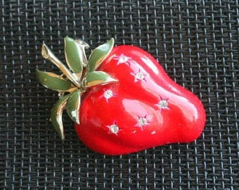 Large Strawberry Brooch Vintage Coro Signed Fruit Figural Pin Enamel Rhinestone Accents