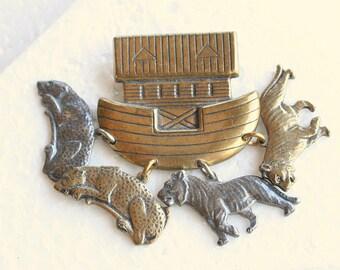 Vintage Noahs Ark Figural Brooch Bible Story Pin Brass Leopard Tiger