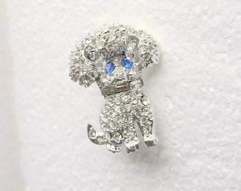 Rhinestone Poodle Dog Brooch Vintage Sparkling Silver Dog Figural Pin
