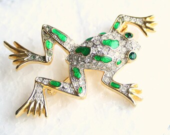 Rhinestone Frog Brooch Vintage Figural Emerald Green Enamel Clear Rhinestone Pin
