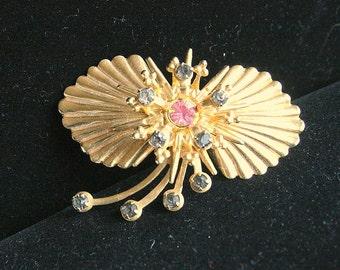 Shell Fan Pendant Brooch Convertible Vintage Shooting Stars Rhinestones