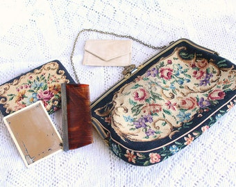 1930s Petit Point Purse Embroidered Vintage Wallet Mirror Comb Set Needlepoint Austrian 1930s 1940s