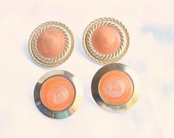 Round Peach Earrings Two Pair Vintage Pierced Lot Peach Enamel Swirls
