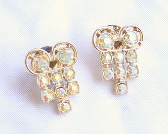 2 AB Rhinestones Brooches Vintage Tac Pin Lot of Two Sparkling Colorful Rainbows on Lapel Hat Bag