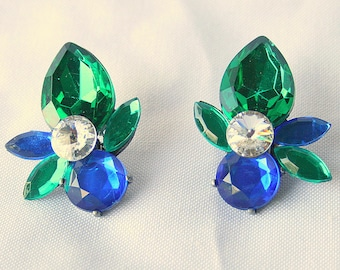 Green Blue Rhinestone Earrings Vintage Large Chunky Lucite Retro Bold Bright Sapphire Emerald