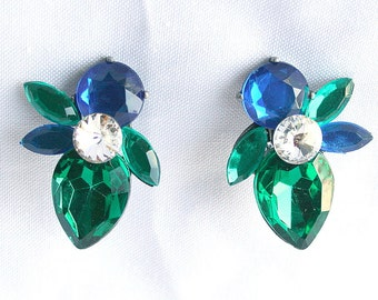 Big Green Blue Rhinestone Earrings Vintage Large Chunky Lucite Retro Bold Bright Sapphire Emerald