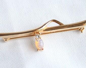 Vintage Opal Bar Pin Brooch Vintage Delicate Feminine Signed Sarah Coventry