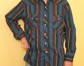 Striped Pearl Snap Shirt Vintage Mens Western Cowboy Wrangler Shirt Blue Black Red Stripes Large