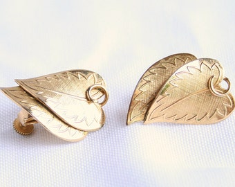 CORO Leaf Earrings Vintage Goldtone Heart Shaped Leaves Layered Curving Signed