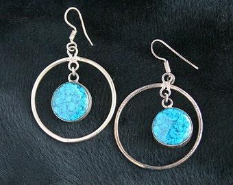 Turquoise Dangle Hoop Earrings Pierced Silver Dangle Drops Retro 1970s