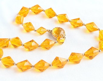 Yellow Lucite Crystal Necklace Vintage Amber Bicone Beads Hong Kong