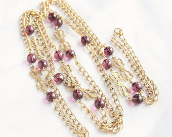 Purple Bead Chain Necklace Vintage Butterfly Beads Flapper Length Long