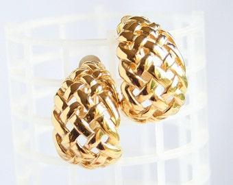 Gold Basketweave Hoop Earrings Vintage Goldtone Retro Half Circle