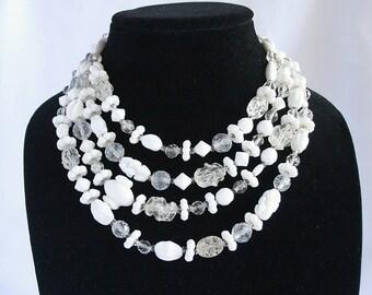 White Crystal Hattie Carnegie Necklace Vintage Multi Strand White Milk Glass Bib Signed Adjustable