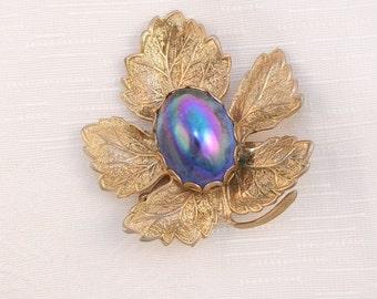 Blue Carnival Glass Brooch Vintage Pin AB Cobalt Aurora Borealis Gold Leaf
