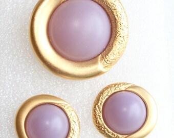 Purple Brooch and Earrings Vintage Pierced Earrings Set Round Frosted Lavender SALE